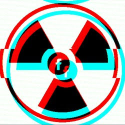 The Facebook logo in the center of a radiation warning symbol